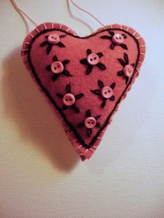 Pair of Pink Embroidered Felt Heart Ornaments  by MyDisgustedCats