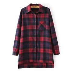 SheIn(sheinside) Red Blue Long Sleeve Plaid Loose Blouse ($15) ❤ liked on Polyvore featuring tops, blouses, plaid, sheinside, red, red top, loose tops, purple blouse, embellished collar blouse and red blouse