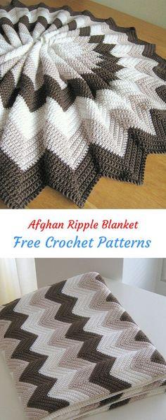 Afghan Ripple Blanket Free Crochet Pattern #crochet #crafts #homedecor #style #blanket