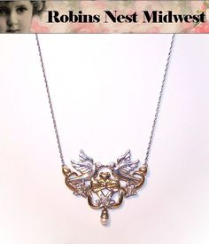 Adorable STERLING SILVER Necklace by Gorham - Two Birds Kissing!