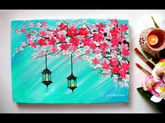 Easy Cherry Blossom Flowers With hangings lamps Painting/ Diwali Special – YouTu… – 37 super easy diy christmas crafts ideas for best and easy rangoli designs for diwali festival part elephant cross stitch pattern Canvas Painting Designs, Acrylic Painting Flowers, Easy Canvas Painting, Acrylic Painting For Beginners, Simple Acrylic Paintings, Acrylic Painting Techniques, Diy Painting, Flowers On Canvas, Diwali Painting