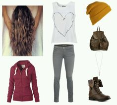 Outfit with mustard colored beanie