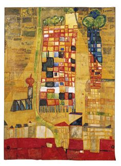 Hundertwasser - Skyscraper and Village Church (1951). Watercolor on wrapping paper, primed with chalk, zinc white and fish glue; later glued on canvas