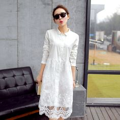 White lace dress new arrival women summer dress long sleeve cute casual dresses Vestidos roupas femininas free shipping