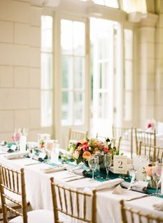 Green + Peach Tablescape | Patti and Christian's Wedding at The Prospect Park Boathouse