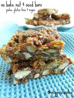 No Bake Nut & Seed Bars #glutenfree #paleo #vegan #nobake #snack
