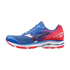 Mizuno Blue & Red Wave Rider 19 Running Shoe ($60) ❤ liked on Polyvore featuring shoes, athletic shoes, blue patent leather shoes, patent shoes, blue patent shoes, patent leather shoes and red athletic shoes