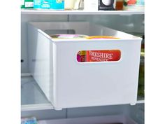 These cool new solid white open fridge/freezer storage bins are the perfect solution for getting your fridge or freezer organised. Ideal for gathering beverages, condiments, meats and more. They will help you put an end to wasted time rummaging around looking for what you want. Available in two handy sizes with a stackable design for optimal space saving and built-in handles for easy access; you can be sure the contents of your fridge will be organised in no time.