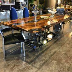 Walnut epoxy table by Lara wood