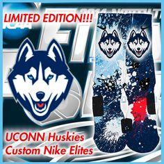 Limited Edition UCONN Connecticut Huskies Custom Nike Elite Socks, $34.99