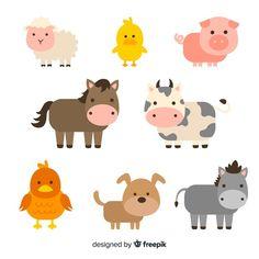 Colección animales de granja planos | Free Vector #Freepik #freevector #naturaleza #animal #granja #paisaje Doodle Characters, Cute Cartoon Characters, Cartoon Posters, Cartoon Styles, Farm With Animals, Happy Animals, Animals And Pets, Cute Animals, Farm Cartoon