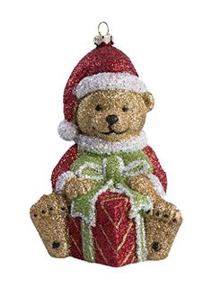 Christmas Golden Santa Bear with Gift Sparkled Hanging Tree Ornament. #Christmas #NewYear #Ornament #Decor #giftidea #Gift #gosstudio .★ We recommend Gift Shop: http://www.zazzle.com/vintagestylestudio ★