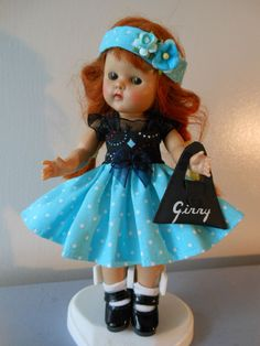 POKEY DOTS dress purse hairband  fits Ginny Muffie dolls