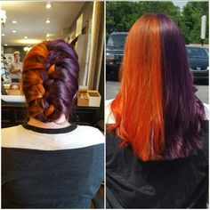 orange and purple french braid, split dyed hair, rainbow hair, bright colors. Aveda colors Aveda Salon - orange and pur. - orange and purple frenc. Short Dyed Hair, Dyed Hair Ombre, Dyed Hair Purple, Dyed Hair Pastel, Two Color Hair, Hair Dye Colors, Multicolored Hair, Front Hair Styles, Rainbow Hair