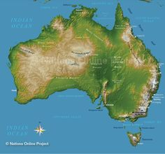Topographic Map of Australia and MANY more satellite views of landmarks, land