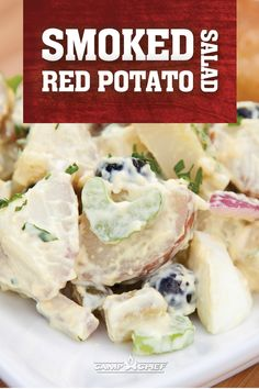 Smoked Red Potato Salad Potato salad bumped up a notch with some simple smoking! Smoked Red Potato Salad with all the extras makes this an irresistible recipe from outdoor cooking guru Cee Dub! Suggested Products Woodwind Pellet Grill Patio Cart Traeger Recipes, Rib Recipes, Grilling Recipes, Smoker Recipes, Salad Recipes, Potato Recipes, Vegetable Recipes, Smoked Potatoes, Pepper