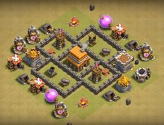 Best Town Hall 4 War, Farming and Hybrid Bases Anti Giants These base designs can defend giants archer and barbarians with ease. Town Hall 4, Clash Of Clans, Farming, Layouts, Room Ideas, Base