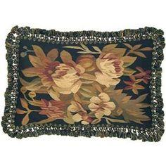 """New Aubusson Throw Pillow Handwoven Floral Design, Black/Gold Tassel"" Romantic Cottage, Black Gold, Hand Weaving, Tassels, Floral Design, Throw Pillows, Bags, Fashion, Handbags"
