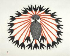 Artist: Kenojuak  Ashevak, Title: Majestic Owl - click for larger image