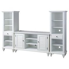 Entertainment credenza and 2 pier cabinets   Construction Material: Solid and engineered wood     Color: Brushed white     Features: Traditional and coastal designShutter doors and turned feetTwo storage cabinets with two adjustable shelves eachThree adjustable shelves and storage drawerHidden cable access points for neat wire management    Dimensions: 32 H x 56 W x 20 D (center console)