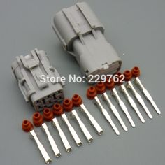 50Sets 6 pin 2.0MM Car taillight connector plug Auto waterproof electrical male and female socket with terminal free shipping