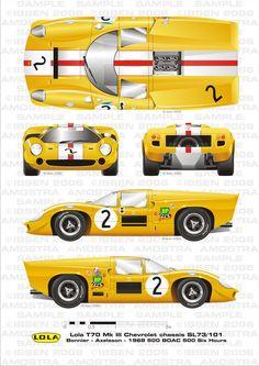 Lola MkIIIB Bonnier-Muller by ibsenop on DeviantArt Gt Cars, Indy Cars, Race Cars, Vintage Sports Cars, Vintage Race Car, Sports Car Racing, Sport Cars, F1 Racing, Drag Racing