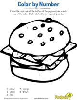 Printable Hamburger Color by Number Coloring Page