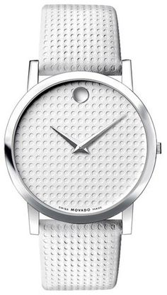 Movado White Leather Men's Watch - wouldn't use it (don't like white in watches) but I like the design.