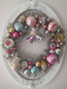 Vintage Christmas Ornament Wreath - using a vintage tinsel wreath base and collected vintage ornaments - via Pretty Petals Noel Christmas, Pink Christmas, Christmas Crafts, Christmas Decorations, Christmas Ornaments, Ornaments Image, 1950s Christmas, Holiday Decor, Holiday Door Wreaths