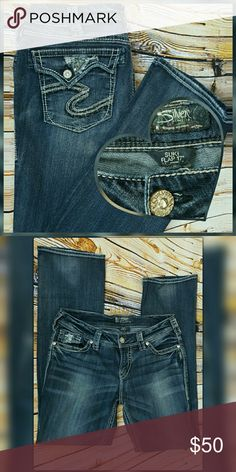 """Silver Jeans Suki Flap 17"""" size 30 33in EUC. Only flaw is some very light wear at the bottom. Barely noticeable. Great pair of jeans!! Silver Jeans Jeans Boot Cut"""