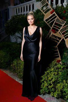 Draped Navy Satin Kate Upton Evening Dress,Draped Navy Satin Kate Upton Evening Dress