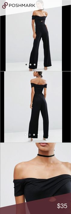 """ASOS Black Jersey Jumpsuit with Wrap Bardot PRODUCT DETAILS - ASOS Jersey Jumpsuit with Wrap Bardot and Twist with Wide Leg  Soft-touch jersey Bardot neckline Twist front Cut-out detail Wide-cut legs Regular fit - true to size Machine wash 95% Viscose, 5% Elastane Our model wears a UK 8/EU 36/US 4 and is 175cm/5'9"""" tall Only worn once for a photoshoot! ASOS Other"""