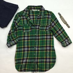 Green Flannel Shirt Cute Flannel by Derek Heart. Size large. Can roll up and button sleeves or keep rolled down to 3/4 length. 100% cotton. Good used condition: only slight pilling. Derek Heart Tops Button Down Shirts