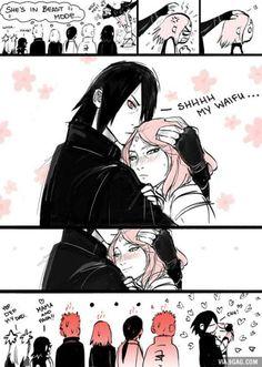 Sasuke: Shhh my waifu. *Sakura calms down* Naruto: Sakura-chan! Calm down! *Sakura kills everyone* Naruto Uzumaki, Anime Naruto, Naruto Comic, Hinata, Naruto Cute, Naruhina, Naruto Gaiden, Sakura Haruno, Sasuke Sakura Sarada