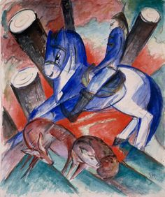 Franz Marc, St. Julian the Hospitaler, 1913. Watercolor, gouache, and bronze powder on paper, 18 1/8 x 15 7/8 inches (46 x 40.2 cm)