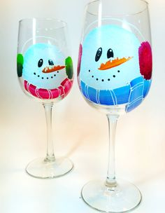 Set of 2 Hand painted 16oz. Snowman Wine glasses by CCCraftsatHome