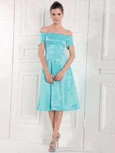 A-line Off-the-shoulder Satin Knee-length Formal Dress