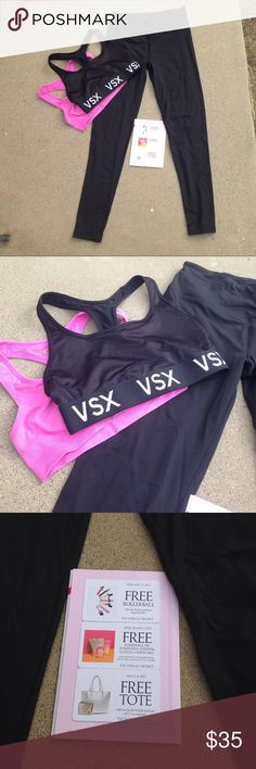Victoria secret sport bundle Black Sport leggings in like new condition & black PINK sports bra never wore. Pink sports bra is from forever 21. Also you can have the coupon cards. *buy this item & I'll throw in any item in my closet ($10 or less) for free PINK Victoria's Secret Pants Leggings