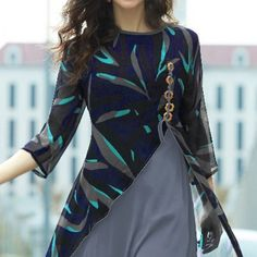 Buy Blue - Grey Layered Georgette Kurti at Rs. Get latest Indo Western Suits for womens at Peachmode. Kurti Designs Party Wear, Kurta Designs, Blouse Designs, Latest Kurti Designs, Western Dresses For Women, Western Suits, Kurti Patterns, Dress Patterns, Stylish Dresses