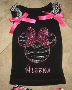 Custom Boutique Hot Pink or Red and Black Zebra Minnie Mouse Crystal Personalized Tank with Bows
