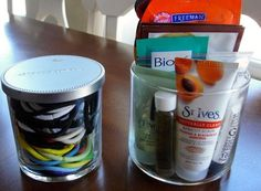 Reuse Those Old Empty Candle Jars- Bathroom Organizers And 10 Other Ideas
