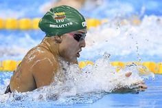 Lithuania's Ruta Meilutyte competes in the Women's 100m Breaststroke heats during the swimming event at the Rio 2016 Olympic Games at the Olympic Aquatics Stadium in Rio de Janeiro on August 7, 2016.   / AFP / GABRIEL BOUYS