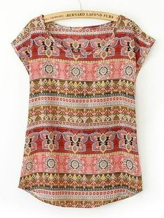 Shop Tribal Print Cap Sleeve Tee online. SheIn offers Tribal Print Cap Sleeve Tee & more to fit your fashionable needs.