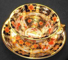 Pointons Antique Imari England Deluxe Blue Orange Tea Cup and Saucer   eBay