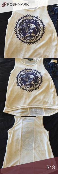 🌻Takara Girls top, elephant with navy and silver Too Cute to describe polyester and linen gives it a rich look and high quality fabric by TAKARA GIRLS, sz Med, back has see through area cute w/bandeau bra and grab a jean jacket. Awesome look for FALL TAKARA Girls Shirts & Tops Blouses