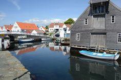 Havnebilde fra sommerbyen Skudeneshavn.