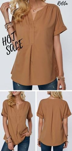 Just get this simple blouse,hope you w… Curved Hem Split Neck Short Sleeve Blouse.Just get this simple blouse,hope you will like solid blouse. Clothing Sites, Clothing Patterns, Blouse Styles, Blouse Designs, Sewing Blouses, Casual Wear Women, Cool Outfits, Fashion Outfits, Batik