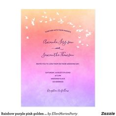 Rainbow purple pink golden wedding invitation postcard