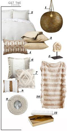 Style by Emily Henderson - Brass Disc Hanging Pendant Lamp World Market $99, Nate Berkus Gold Tray Target, Moroccan Wedding Blanket Anthropologie $128