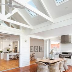 Inspiration ~ We love the look of the exposed trusses & think the skylights are perfectly placed. Well done Phil & Amity your home is… Die Hamptons, Hamptons Style Homes, Exposed Trusses, Cottage Shabby Chic, Architecture Renovation, Modern Country Style, Custom Built Homes, Outdoor Kitchen Design, Indoor Outdoor Kitchen